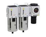 "PneumaticPlus PPC4C-N04G Three Stage Air Drying System 1/2"" NPT - Poly Bowl, Manual Drain, Embedded Gauge"