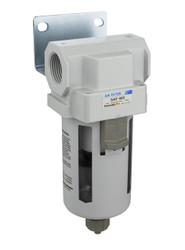 "PneumaticPlus SAF400 Series Particulate Air Filter, 10 Micron 1/2"" NPT with Bracket (SAF400-N04B)"