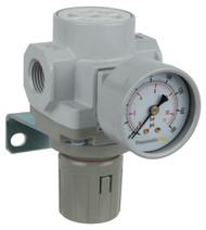 "PneumaticPlus SAR400 Series Air Pressure Regulator 1/2"" NPT with Bracket & Gauge (SAR400-N04BG)"