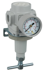 "PneumaticPlus SAR400 Series Air Pressure Regulator T-Handle 1/2"" NPT with Bracket & Gauge (SAR400T-N04BG)"