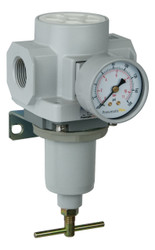 "PneumaticPlus SAR600 Series HIGH FLOW Air Pressure Regulator T-Handle 3/4"" NPT with Bracket & Gauge (SAR600T-N06BG)"