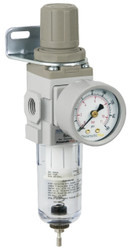 "PneumaticPlus SAW200 Series Miniature Air Filter Regulator Piggyback Combo 1/4"" NPT with Bracket & Gauge (SAW200-N02BG)"