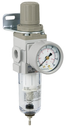 "PneumaticPlus SAW200 Series Miniature Air Filter Regulator Piggyback Combo 1/4"" NPT with Bracket & Gauge (SAW200-N02BG)"