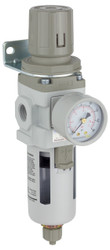 "PneumaticPlus SAW300 Series Air Filter Regulator Piggyback Combo 3/8"" NPT with Bracket & Gauge (SAW300-N03BG)"