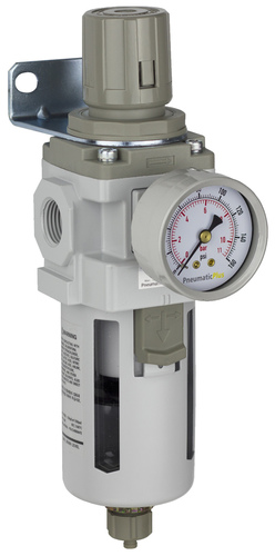 "PneumaticPlus SAW400 Series Air Filter Regulator Piggyback Combo 1/2"" NPT with Bracket & Gauge (SAW400-N04BG)"