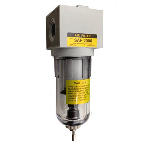 "PneumaticPlus SAF Series Particulate Air Filter 1/4"" NPT (Poly Bowl, Manual Drain)"