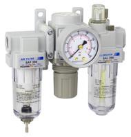 "PneumaticPlus SAU200 Series Mini Air Filter Regulator Lubricator Modular Combo 1/4"" NPT with Bracket & Gauge (SAU200-N02G)"