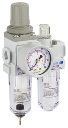 "PneumaticPlus SAU210 Series Mini Air Filter Regulator Lubricator Piggyback Combo 1/4"" NPT with Bracket & Gauge (SAU210-N02G)"