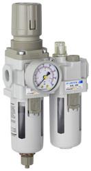 "SAU310 Series Air Filter Regulator Lubricator Piggyback Combo 3/8"" NPT with Bracket & Gauge (SAU310-N03G)"