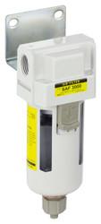 "PneumaticPlus SAF3000M-N03B Particulate Filter 3/8"" NPT - Manual Drain, Poly Bowl"