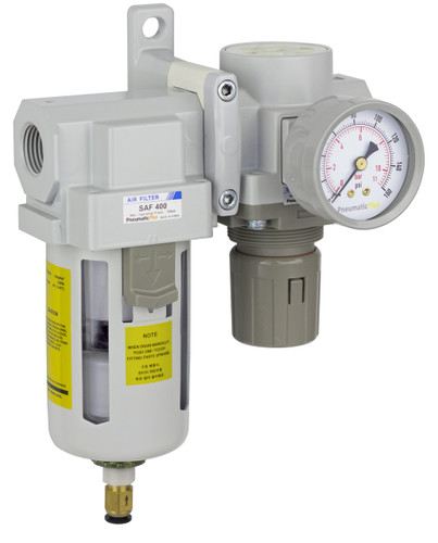 "PneumaticPlus SAU420 Series Air Filter Regulator Modular Combo 1/2"" NPT with Bracket & Gauge (SAU420-N04DG)"
