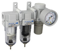 "SAU230 Series Mini Three Stage Air Drying System, 1/4"" NPT - Filter, Mist Separator, Regulator with Bracket & Gauge (SAU230-N02G)"
