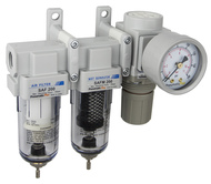 "SAU230 Series Mini Three Stage Air Drying System, 1/4"" NPT - Filter, Mist Separator, Regulator with Bracket & Gauge (SAU230-N02G)"