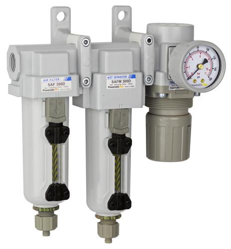 "PneumaticPlus SAU330 Series Three Stage Air Drying System Filter, Mist Separator, Regulator 3/8"" NPT with Bracket & Gauge (SAU330-N03G-MEP)"