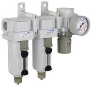 "SAU430 Series Three Stage Air Drying System Filter, Mist Separator, Regulator 3/4"" NPT with Bracket & Gauge (SAU430-N06G-MEP)"