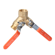 Three Way Vented Brass Ball Valve with Auto Drain Ports