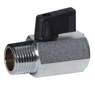 Mini Chrome Plated Brass Ball Valve (Male to Female, Wedge Handle)
