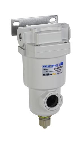 "PneumaticPlus SAMD250 Series Micro Mist Separator, 0.01 Micron 1/4"" NPT with Bracket (SAMD250-N02B-MEF)"