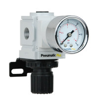 "PneumaticPlus PPR2-N2BG-2 Air Pressure Regulator 1/4"" NPT (3-30 PSI) with Gauge & Bracket"
