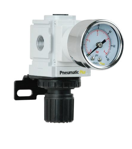 "PneumaticPlus PPR2-N2BG-4 Air Pressure Regulator 1/4"" NPT (3-60 PSI) with Gauge & Bracket"