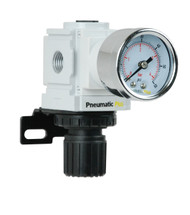 "PneumaticPlus PPR2-N2BG-4 Air Pressure Regulator 1/4"" NPT (3-60 PSI) with Gauge & Bracket"