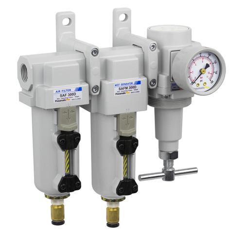 """SAU430H Series Three Stage Air Drying System Filter, Mist Separator, High Pressure T-Handle Regulator 1/2"""" NPT with Bracket & Gauge (SAU430H-N04DG-MEP)"""