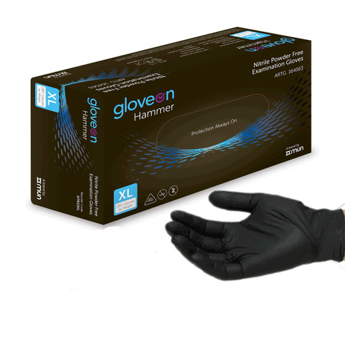 pneumaticplus disposable nitrile gloves, 5 mil, black, medical grade, standard cuff