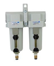 "PneumaticPlus SAFU430-N04-MEP Air Particulate (10 µm), Coalescing (0.1 µm) Filter Combo, 1/2"" NPT, Metal Bowl w/Manual Drain"