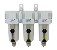 "PneumaticPlus SAFU460-N06-MEP Air Particulate (10 µm), Oil Removing (0.1 µm), Coalescing (0.01 µm) Filter Combo, 3/4"" NPT, Metal Bowl w/Manual Drain"