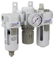 "SAU300 Series Air Filter Regulator Lubricator Modular Combo 3/8"" NPT with Bracket & Gauge (SAU300-N03G)"