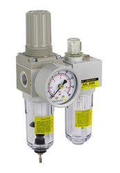 "SAU Series Mini Air Filter Regulator Lubricator Piggyback Combo 1/4"" NPT with Gauge (SAU2010M-N02G)"