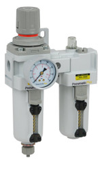 "PneumaticPlus SAU4010M-N04G-MEP Compressed Air Filter Regulator Lubricator Piggyback Combo 1/2"" NPT"