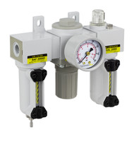 "PneumaticPlus SAU Series Mini Filter Regulator Lubricator Combo (FRL) Unit 1/4"" NPT with Gauge (SAU2000M-N02G-MEP)"