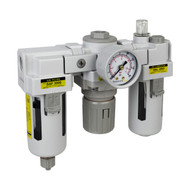 "PneumaticPlus SAU3000 Series Filter Regulator Lubricator Combo (FRL) Unit 3/8"" NPT with Gauge (SAU3000M-N03G)"