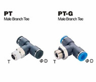 Push To Connect Composite Air Fitting - Male Branch Tee
