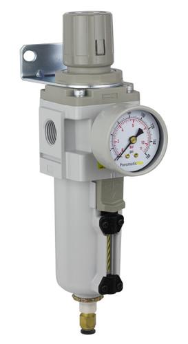 """PneumaticPlus SAW Series Air Filter Regulator Piggyback Style 1/2"""" NPT (SAW4000M-N04BDG-MEP)"""