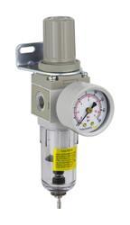 "PneumaticPlus SAW Series Miniature Air Filter Regulator Combo Piggyback 1/4"" NPT  (SAW2000M-N02BG)"