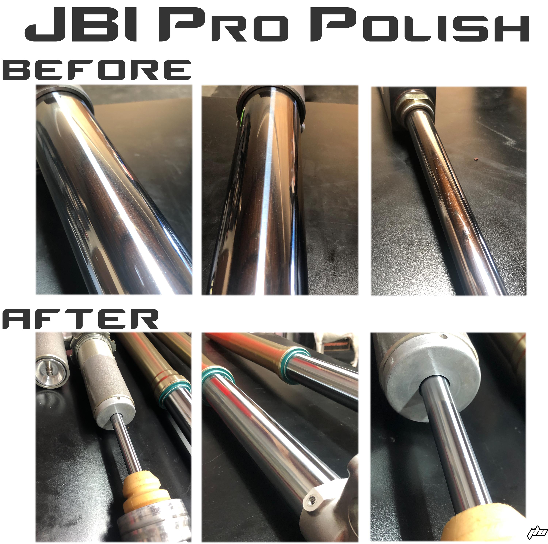 JBI Suspension Pro Polish Chrome Fork Tubes Shock Shaft before after