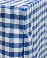 "You'll be the envy of the neighborhood. Blue/White Picnic Plaid is perfect for tailgating, game night, a bar setup, or a romantic dinner for two - the possibilities are endless!  Inverted box pleats offer a tailored look while providing ""give"" and offering ample leg room. The quality fabric feels amazing  and is ready for use straight out of the bag."