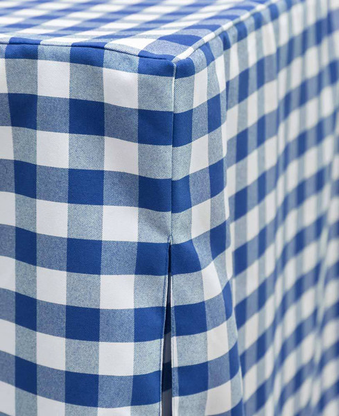 """You'll be the envy of the neighborhood. Blue/White Picnic Plaid is perfect for tailgating, game night, a bar setup, or a romantic dinner for two - the possibilities are endless!  Inverted box pleats offer a tailored look while providing """"give"""" and offering ample leg room. The quality fabric feels amazing  and is ready for use straight out of the bag."""