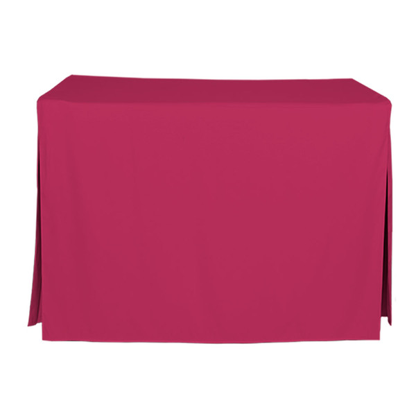 """Tablevogue is a fitted table cover or custom-sized table cloth. This fitted table cloth is a solid Fuchsia table cloth, or as we call it table cover, is designed to fit a standard 4-foot folding table.  Made from 100% woven polyester 300 thread count fabric. Stitched edges create a custom look while to-the-floor coverage neatly disguises table legs. This table cloth cover makes outdoor entertaining and buffet style service a breeze!  Our custom fitted table cloth can be screen printed or embroidered to match your brand.   Dimensions: 29"""" high x 24"""" wide x 48"""" long, fits a standard 4-foot folding table.  Care Instructions: 100% heavy weight Polyester, Machine wash warm, tumble dry low. Patented Soil-Release Feature allows laundering at 120 degree water temp (as opposed to 160 degrees) - reducing rejects, providing a longer shelf life, conserving energy, and saving money.  More Info: Tablevogue offers a variety of table cloths including a card table covers, round table covers, banquet table covers, square table covers and rectangle table covers. Tablevogue fitted table covers are made to fit standard folding tables."""