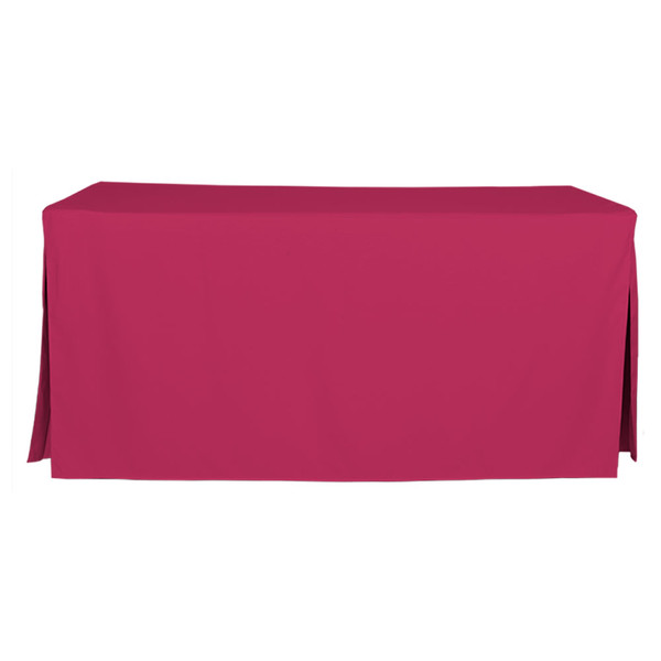 """Tablevogue is a fitted table cover or custom-sized table cloth. This fitted table cloth is a solid Fuchsia table cloth, or as we call it table cover, is designed to fit a standard 6-foot folding table.  Made from 100% woven polyester 300 thread count fabric. Stitched edges create a custom look while to-the-floor coverage neatly disguises table legs. This table cloth cover makes outdoor entertaining and buffet style service a breeze!  Our custom fitted table cloth can be screen printed or embroidered to match your brand.  Dimensions: 29"""" high x 30"""" wide x 72"""" long, fits a standard 6-foot folding table.  Care Instructions: 100% Polyester, Machine wash warm, tumble dry low. Patented Soil-Release Feature allows laundering at 120 degree water temp (as opposed to 160 degrees) - reducing rejects, providing a longer shelf life, conserving energy, and saving money.   More Info: Tablevogue offers a variety of table cloths including a card table covers, round table covers, banquet table covers, square table covers and rectangle table covers. Tablevogue fitted table covers are made to fit standard folding tables."""