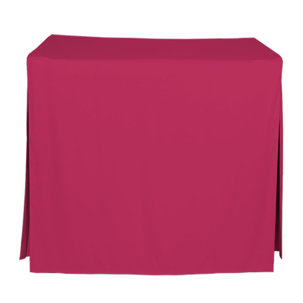 """Tablevogue is a fitted table cover or custom-sized table cloth. This fitted table cloth is a solid Fuchsia table cloth, or as we call it table cover, is designed to fit a standard 34-inch folding card table.  Made from 100% woven polyester 300 thread count fabric. Stitched edges create a custom look while to-the-floor coverage neatly disguises table legs. This table cloth cover makes outdoor entertaining and buffet style service a breeze!   Our custom fitted table cloth can be screen printed or embroidered to match your brand.  Dimensions: 29"""" high x 34"""" wide x 34"""" long, fits a standard 34-inch folding card table.  Care Instructions: 100% Polyester, Machine wash warm, tumble dry low. Patented Soil-Release Feature allows laundering at 120 degree water temp (as opposed to 160 degrees) - reducing rejects, providing a longer shelf life, conserving energy, and saving money.   More Info: Tablevogue offers a variety of table cloths including a card table covers, round table covers, banquet table covers, square table covers and rectangle table covers. Tablevogue fitted table covers are made to fit standard folding tables."""