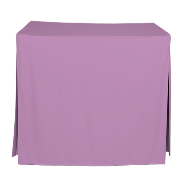 """Tablevogue is a fitted table cover or custom-sized table cloth. This fitted table cloth is a solid Lilac table cloth, or as we call it table cover, is designed to fit a standard 34-inch folding card table.  Made from 100% woven polyester 300 thread count fabric. Stitched edges create a custom look while to-the-floor coverage neatly disguises table legs. This table cloth cover makes outdoor entertaining and buffet style service a breeze!   Our custom fitted table cloth can be screen printed or embroidered to match your brand.  Dimensions: 29"""" high x 34"""" wide x 34"""" long, fits a standard 34-inch folding card table.  Care Instructions: 100% Polyester, Machine wash warm, tumble dry low. Patented Soil-Release Feature allows laundering at 120 degree water temp (as opposed to 160 degrees) - reducing rejects, providing a longer shelf life, conserving energy, and saving money.   More Info: Tablevogue offers a variety of table cloths including a card table covers, round table covers, banquet table covers, square table covers and rectangle table covers. Tablevogue fitted table covers are made to fit standard folding tables."""