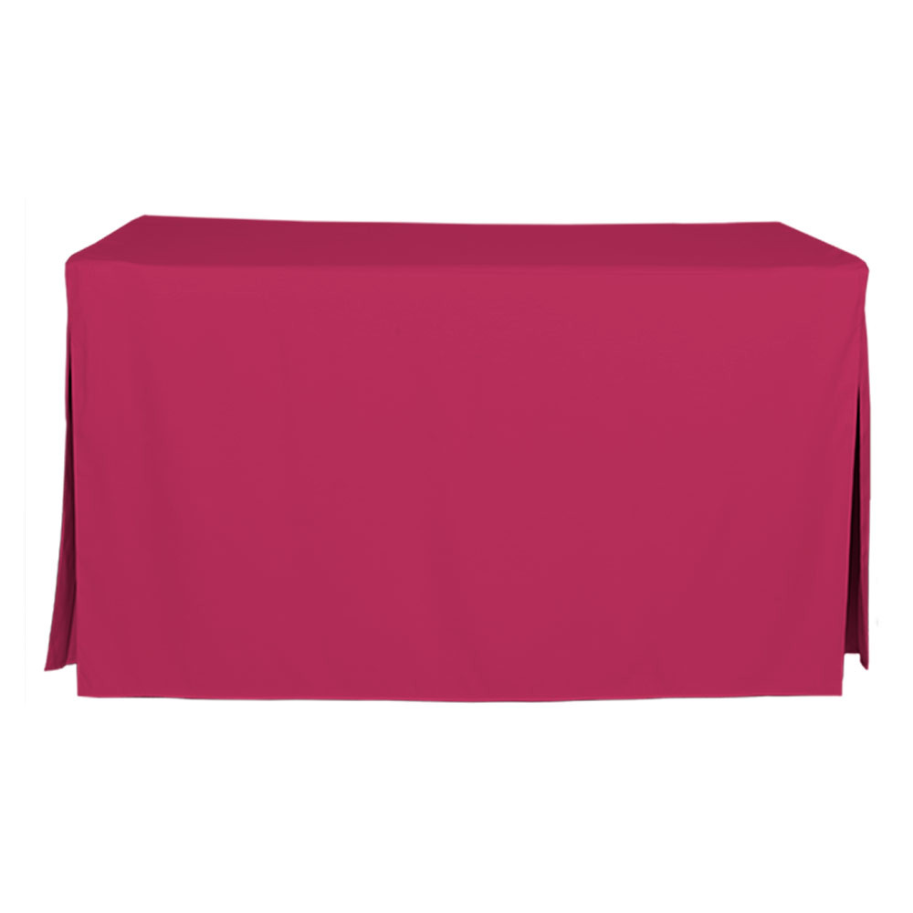 """Tablevogue is a fitted table cover or custom-sized table cloth. This fitted table cloth is a solid Fuchsia table cloth, or as we call it table cover, is designed to fit a standard 5-foot folding table.  Made from 100% woven polyester 300 thread count fabric. Stitched edges create a custom look while to-the-floor coverage neatly disguises table legs. This table cloth cover makes outdoor entertaining and buffet style service a breeze!   Our custom fitted table cloth can be screen-printed or embroidered to match your brand.  Dimensions: 29"""" high x 30"""" wide x 60"""" long, fits a standard 5-foot folding table. *Please note that standard 5-foot folding tables may vary in size up to 2 inches, which will affect the way your new Tablevogue fitted cover hangs on the table.  Care Instructions: 100% Polyester, Machine wash warm, tumble dry low. Patented Soil-Release Feature allows laundering at 120-degree water temp (as opposed to 160-degrees) - reducing rejects, providing a longer shelf life, conserving energy, and saving money.   More Info: Tablevogue offers a variety of table cloths including a card table covers, round table covers, banquet table covers, square table covers and rectangle table covers. Tablevogue fitted table covers are made to fit standard folding tables."""