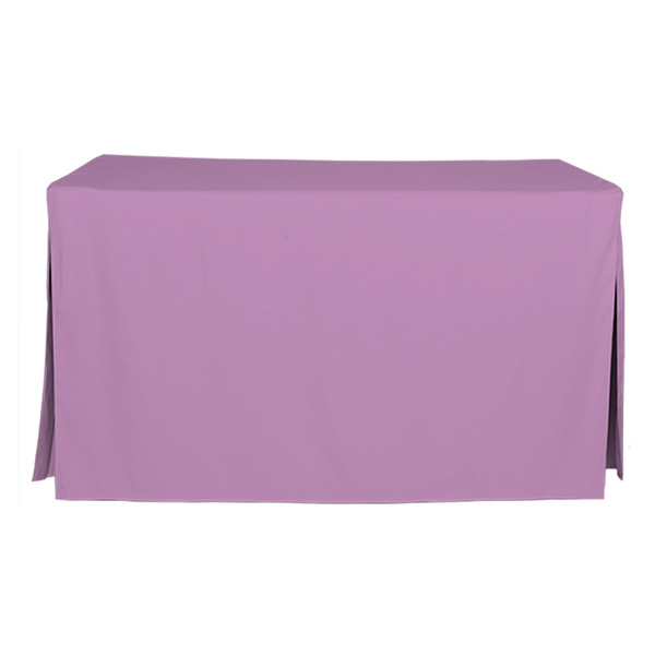 """Tablevogue is a fitted table cover or custom-sized table cloth. This fitted table cloth is a solid Lilac table cloth, or as we call it table cover, is designed to fit a standard 5-foot folding table.  Made from 100% woven polyester 300 thread count fabric. Stitched edges create a custom look while to-the-floor coverage neatly disguises table legs. This table cloth cover makes outdoor entertaining and buffet style service a breeze!   Our custom fitted table cloth can be screen-printed or embroidered to match your brand.  Dimensions: 29"""" high x 30"""" wide x 60"""" long, fits a standard 5-foot folding table. *Please note that standard 5-foot folding tables may vary in size up to 2 inches, which will affect the way your new Tablevogue fitted cover hangs on the table.  Care Instructions: 100% Polyester, Machine wash warm, tumble dry low. Patented Soil-Release Feature allows laundering at 120-degree water temp (as opposed to 160-degrees) - reducing rejects, providing a longer shelf life, conserving energy, and saving money.   More Info: Tablevogue offers a variety of table cloths including a card table covers, round table covers, banquet table covers, square table covers and rectangle table covers. Tablevogue fitted table covers are made to fit standard folding tables."""