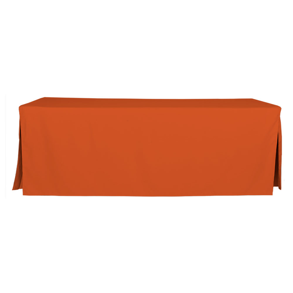 """Tablevogue is a fitted table cover or custom-sized table cloth. This fitted table cloth is a solid Orange table cloth, or as we call it table cover, is designed to fit a standard 8-foot folding table. Great for tailgating if you root for Clemson Tennessee Cleveland and more.  Made from 100% woven polyester 300 thread count fabric. Stitched edges create a custom look while to-the-floor coverage neatly disguises table legs. This table cloth cover makes outdoor entertaining and buffet style service a breeze!   Our custom fitted table cloth can be screen printed or embroidered to match your brand.  Dimensions: 29"""" high x 30"""" wide x 96"""" long, fits a standard 8-foot folding table.  Care Instructions: 100% Polyester, Machine wash warm, tumble dry low. Patented Soil-Release Feature allows laundering at 120 degree water temp (as opposed to 160 degrees) - reducing rejects, providing a longer shelf life, conserving energy, and saving money.   More Info: Tablevogue offers a variety of table cloths including a card table covers, round table covers, banquet table covers, square table covers and rectangle table covers. Tablevogue fitted table covers are made to fit standard folding tables."""