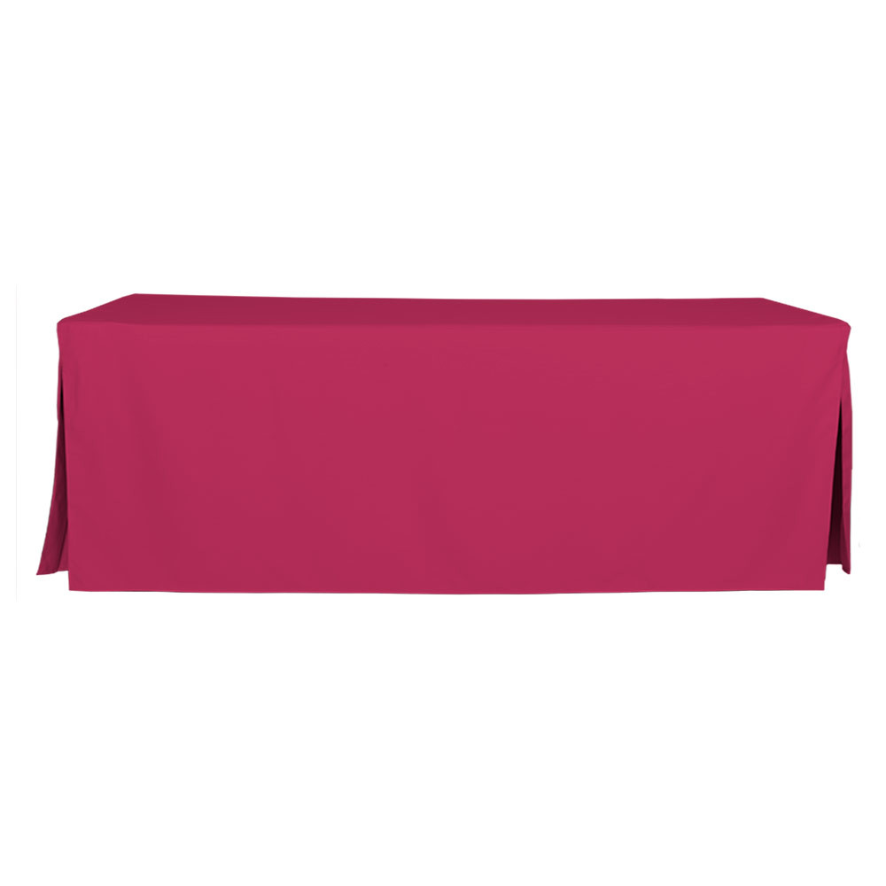 "Tablevogue is a fitted table cover or custom-sized table cloth. This fitted table cloth is a solid Fuchsia table cloth, or as we call it table cover, is designed to fit a standard 8-foot folding table.   Made from 100% woven polyester 300 thread count fabric. Stitched edges create a custom look while to-the-floor coverage neatly disguises table legs. This table cloth cover makes outdoor entertaining and buffet style service a breeze!   Our custom fitted table cloth can be screen printed or embroidered to match your brand.  Dimensions: 29"" high x 30"" wide x 96"" long, fits a standard 8-foot folding table.  Care Instructions: 100% Polyester, Machine wash warm, tumble dry low. Patented Soil-Release Feature allows laundering at 120 degree water temp (as opposed to 160 degrees) - reducing rejects, providing a longer shelf life, conserving energy, and saving money.   More Info: Tablevogue offers a variety of table cloths including a card table covers, round table covers, banquet table covers, square table covers and rectangle table covers. Tablevogue fitted table covers are made to fit standard folding tables."