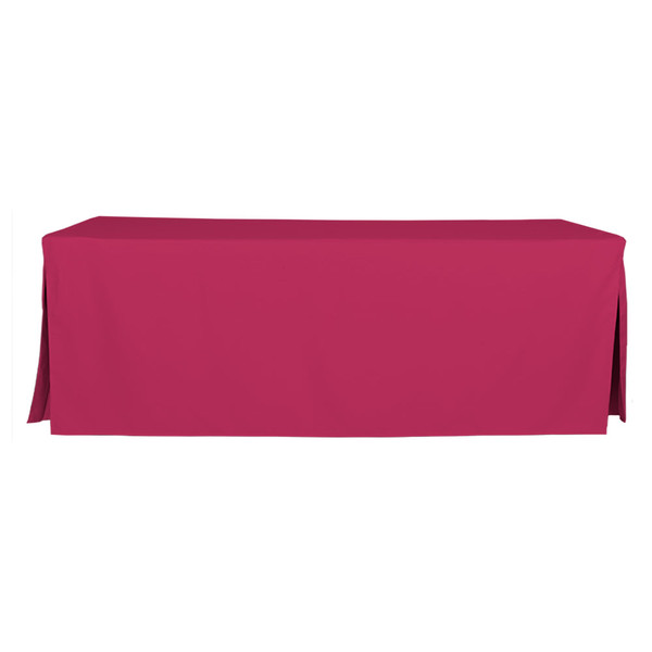 """Tablevogue is a fitted table cover or custom-sized table cloth. This fitted table cloth is a solid Fuchsia table cloth, or as we call it table cover, is designed to fit a standard 8-foot folding table.   Made from 100% woven polyester 300 thread count fabric. Stitched edges create a custom look while to-the-floor coverage neatly disguises table legs. This table cloth cover makes outdoor entertaining and buffet style service a breeze!   Our custom fitted table cloth can be screen printed or embroidered to match your brand.  Dimensions: 29"""" high x 30"""" wide x 96"""" long, fits a standard 8-foot folding table.  Care Instructions: 100% Polyester, Machine wash warm, tumble dry low. Patented Soil-Release Feature allows laundering at 120 degree water temp (as opposed to 160 degrees) - reducing rejects, providing a longer shelf life, conserving energy, and saving money.   More Info: Tablevogue offers a variety of table cloths including a card table covers, round table covers, banquet table covers, square table covers and rectangle table covers. Tablevogue fitted table covers are made to fit standard folding tables."""