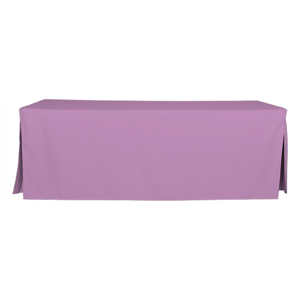"Tablevogue is a fitted table cover or custom-sized table cloth. This fitted table cloth is a solid Lilac table cloth, or as we call it table cover, is designed to fit a standard 8-foot folding table.   Made from 100% woven polyester 300 thread count fabric. Stitched edges create a custom look while to-the-floor coverage neatly disguises table legs. This table cloth cover makes outdoor entertaining and buffet style service a breeze!   Our custom fitted table cloth can be screen printed or embroidered to match your brand.  Dimensions: 29"" high x 30"" wide x 96"" long, fits a standard 8-foot folding table.  Care Instructions: 100% Polyester, Machine wash warm, tumble dry low. Patented Soil-Release Feature allows laundering at 120 degree water temp (as opposed to 160 degrees) - reducing rejects, providing a longer shelf life, conserving energy, and saving money.   More Info: Tablevogue offers a variety of table cloths including a card table covers, round table covers, banquet table covers, square table covers and rectangle table covers. Tablevogue fitted table covers are made to fit standard folding tables."